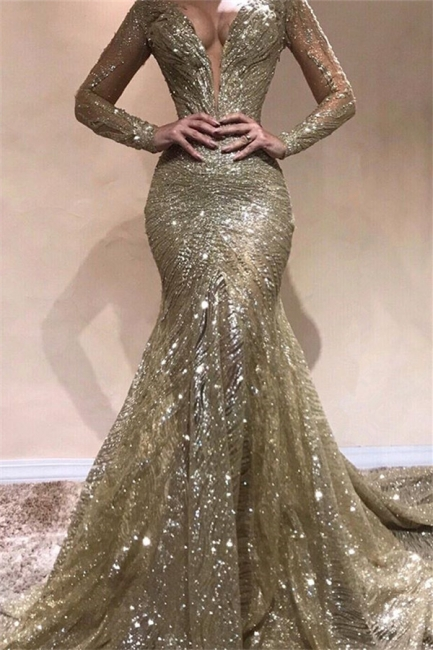 Elegant Mermaid V-Neck Sleeved Shining Sequins Exclusive Prom Dresses UK | New Styles