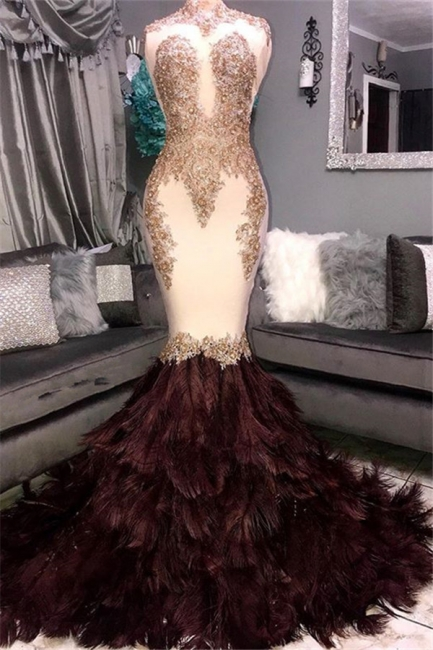 Gorgeous Mermaid High Neck Sleeveless Fur Appliques Exclusive Prom Dresses UK | New Styles