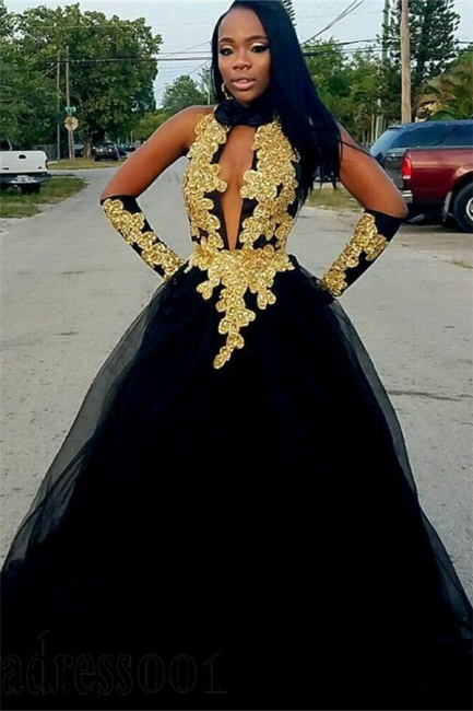 Chic Gold Appliques Ball Gown Prom Dresses | Elegant Black Halter Quality Tulle Evening Gowns | Suzhou UK Online Shop