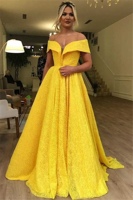 Gorgeous Fitted Off The Shoulder Lace Yellow Evening Dresses Online   New Styles