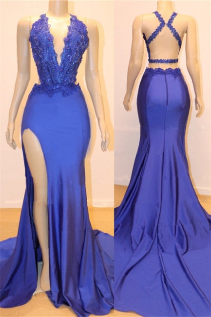 Elegant Royal Blue V-Neck Mermaid Prom Dresses UK With Rhinestones