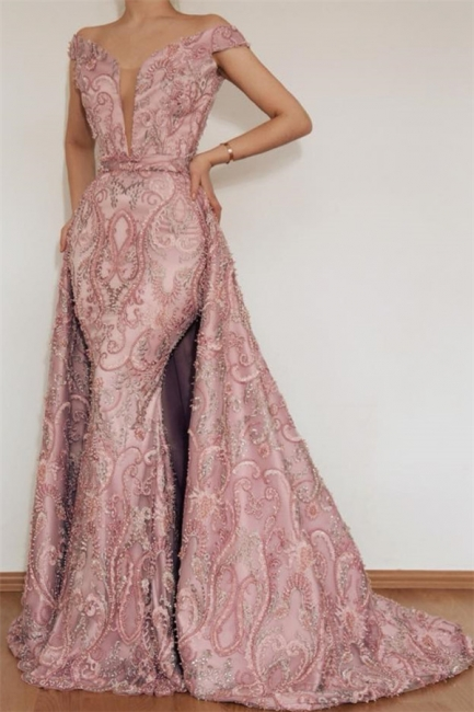 Gorgeous Mermaid Off The Shoulder Applique Long Pink Evening Dresses Online With Detachable Skirt   New Styles