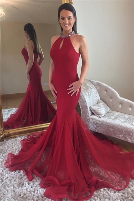 Elegant Mermaid High Neck Sleeveless Rinestone Exclusive Prom Dresses UK | New Styles