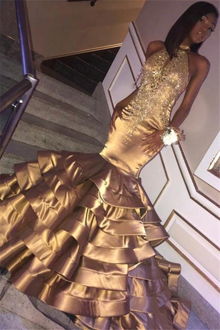 Beautiful Shining Gold Mermaid High Neck Sleeveless Ruffles Rinestone Exclusive Prom Dresses UK   New Styles