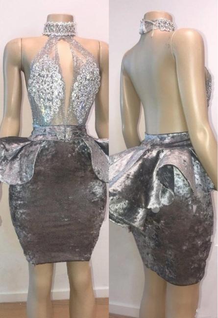 Halter Keyhole Neckline Appliqued Short Prom Dresses | Suzhou UK Online Shop