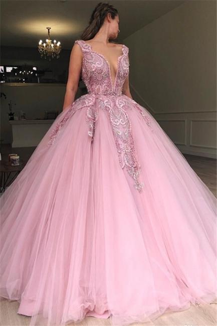 Beautiful Pink Puffy Deep V-Neck Sleeveless Applique Evening Dresses Online | New Styles