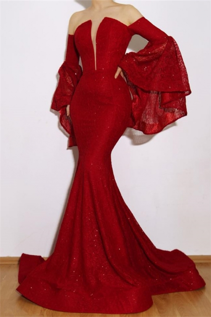 New Arrival Ruby Mermaid Off The Shoulder Lace Appliques Exclusive Prom Dresses UK | New Styles