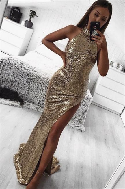 Shining Gold Sheath Halter Sleeveless Side Slit Shining Sequins Flirty Exclusive Prom Dresses UK | New Styles