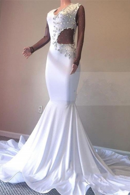 Crystal Beading White Sexy Low Cut Sweep Train Trumpet Evening Gowns | Suzhou UK Online Shop