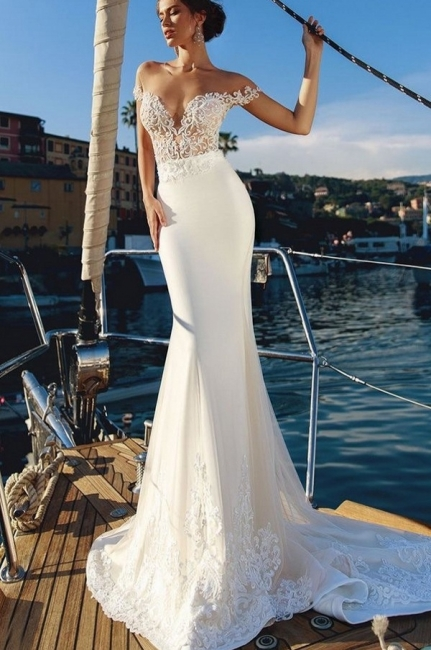 Elegant Mermaid Off-the-Shoulder V-Neck Long Wedding Dress | Bridal Gowns Online