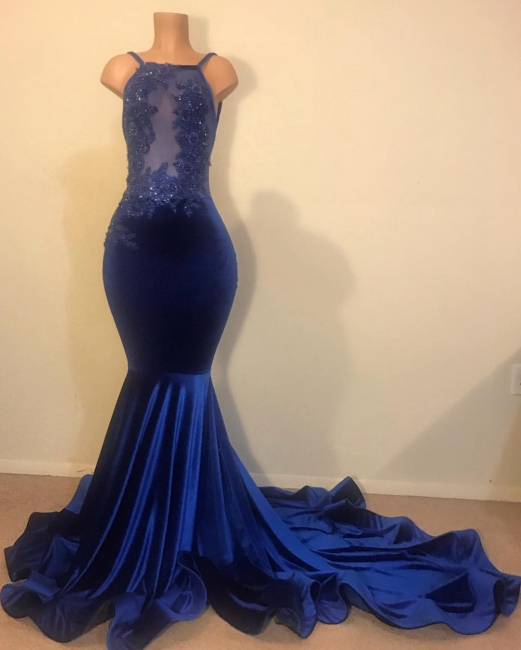 Flirty Mermaid Spahgetti-Straps Openback Velvet Applique prom dress Sale|  New Styles