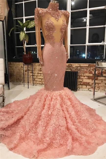 New Arrival Pink Mermaid Prom Dress High Neck Sleeved Formal Wear UK With Appliques