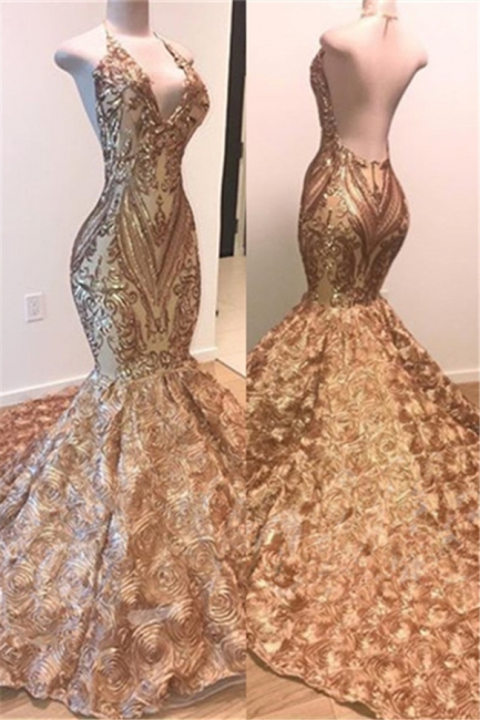 Amazing Gold Sequins Summer Sleeveless Prom Dress | Shiny Trumpet Evening Gowns With Flowers Bottom | Suzhou UK Online Shop