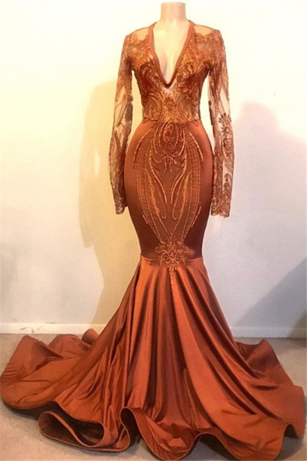 Beautiful Mermaid V-neck Sleeved Prom Dresses Long Formal Wears