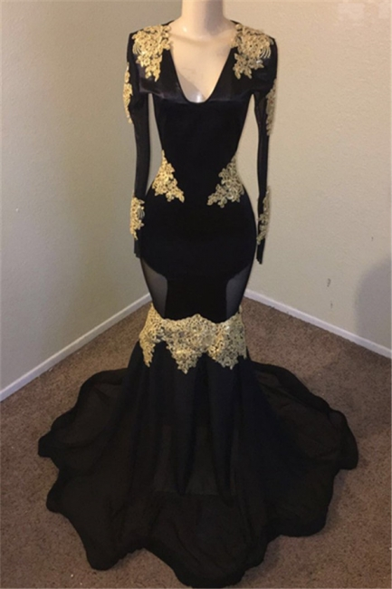 Unique Black Mermaid Prom Dress Long V-neck Evening Gowns With Sequins