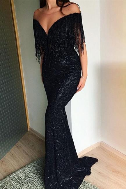 Black Sequins Trumpet Evening Gowns    Tassels Sweep-Train Long Prom Dresses   Suzhou UK Online Shop