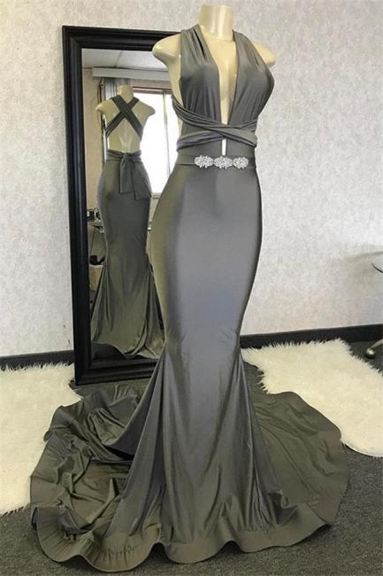 Gorgeous Mermaid Halter Sleeveless Prom Dress With Rinestone Criss Cross Back