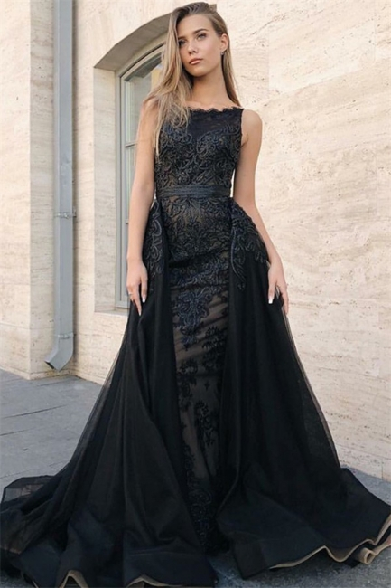 Sexy Trumpet Summer Sleeveless Evening Gowns | Black Appliques Lace Overskirt Prom Dresses | Suzhou UK Online Shop