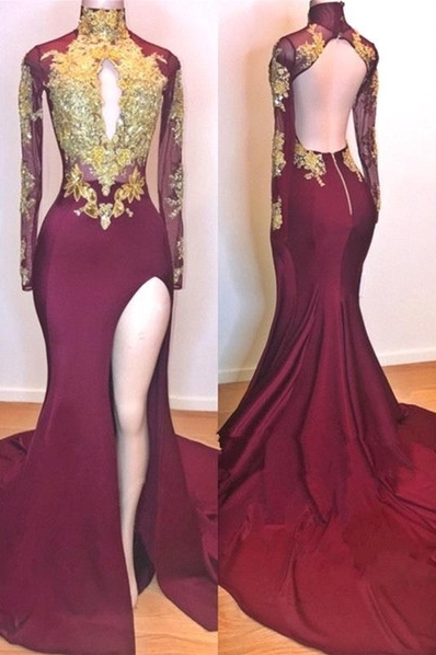 Wine Red Gold Appliques Evening Gowns | Long Sleeves Side Slit Open Back Trumpet Prom Dresses | Suzhou UK Online Shop