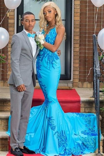 Elegant Appliques Trumpet Prom Dresses | Sexy Blue Halter Summer Sleeveless Evening Gowns | Suzhou UK Online Shop