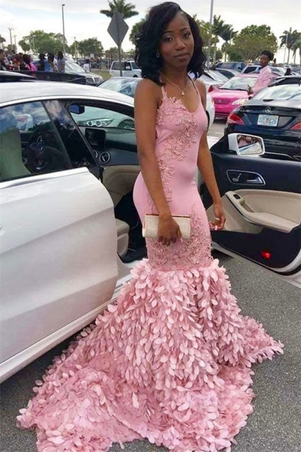 Pink Mermaid Spaghetti Straps Sleeveless Appliques Elegant Exclusive Prom Dresses UK | New Styles