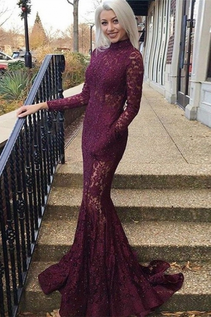 Gorgeous Mermaid High Neck Sleeved Lace Exclusive Prom Dresses UK | New Styles