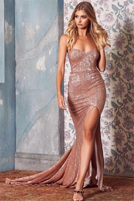 Sexy Sequins Side-Slit Long Prom Dresses | Strapless Trumpet Evening Dresses | Suzhou UK Online Shop