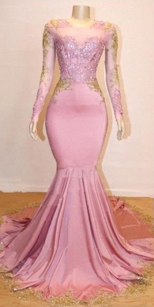 Pink Appliques Long Sleeves Prom Dresses | Glamour Trumpet Evening Gowns | Suzhou UK Online Shop