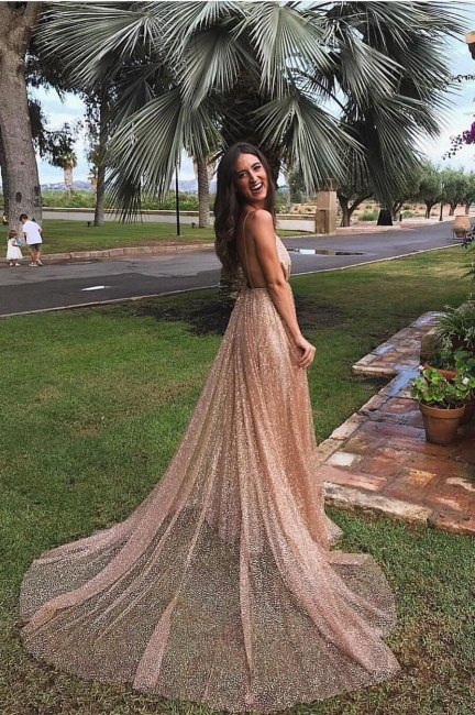 Amazing Sequins Princess A-line Long Prom Gowns | Spaghetti Straps Sexy Low Cut Evening Dress | Suzhou UK Online Shop
