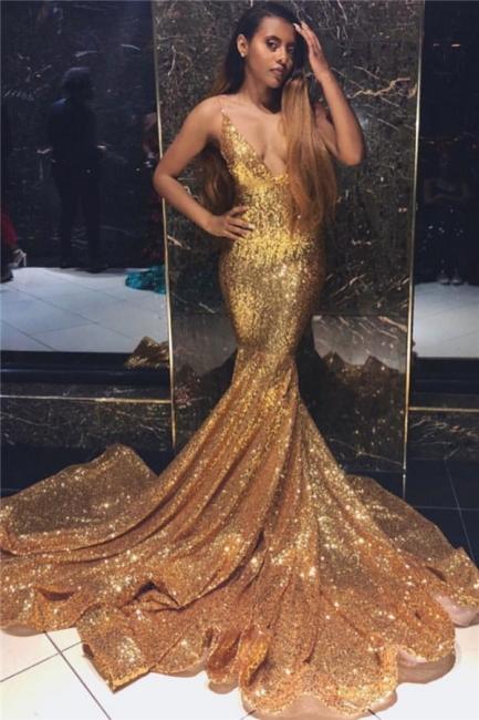 Newest Shining Gold Mermaid Spaghetti Straps V-Neck Sleeveless Shining Sequins Exclusive Prom Dresses UK | New Styles