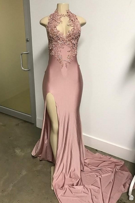 Lovely Pink SleevelessMermaid Prom Dresses Long With Front Slit