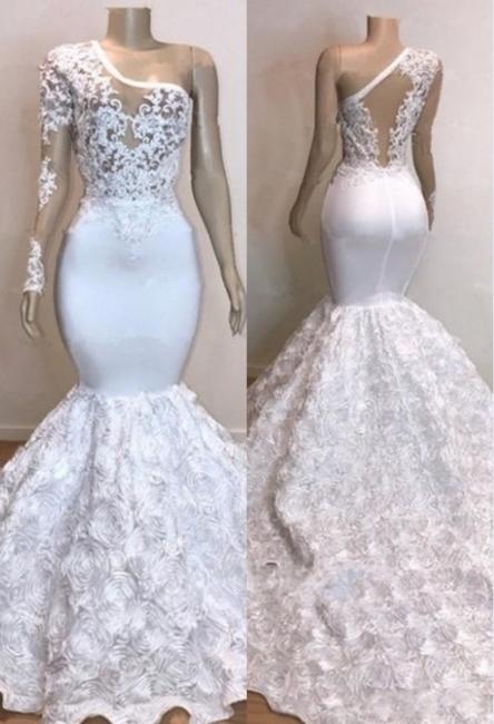 One Shoulder Lace Appliques Trumpet Prom Dresses with sleeve | Suzhou UK Online Shop