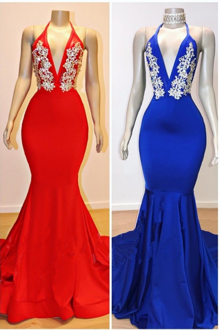 Sexy Low Cut Trumpet Appliques Prom Dresses | Elegant Halter Summer Sleeveless Evening Dresses | Suzhou UK Online Shop