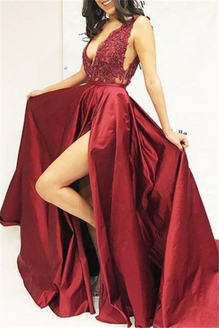 Burgundy fitted Fitted Sleeveless V-Neck Applique Side Slit Exclusive Prom Dresses UK | New Styles