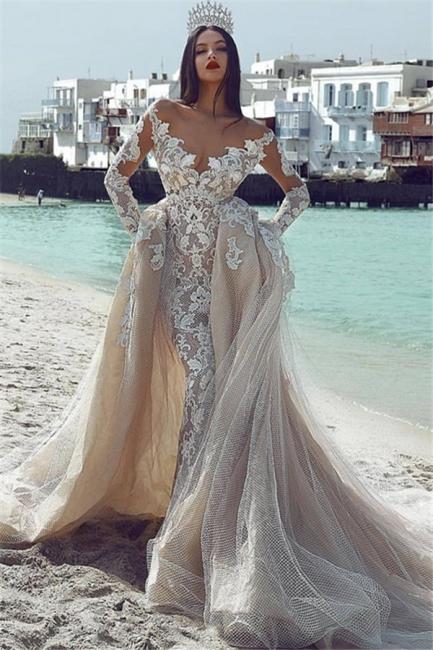 Elegant V-Neck Sleeved Tulle Applique Wedding Dresses with Overskirt | New Styles