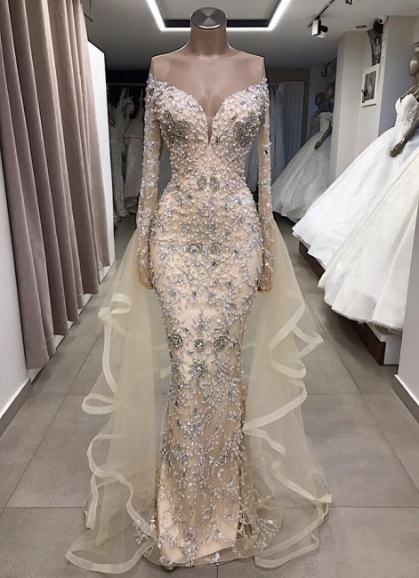 Luxury Long sleeve off-the-shoulder prom dress Salewith fully-covered beads | New Styles