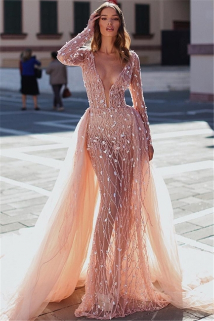 Elegant Pink Mermaid Deep V-Neck Sleeved Rinestone Exclusive Prom Dresses UK With Detachable Skirt | New Styles