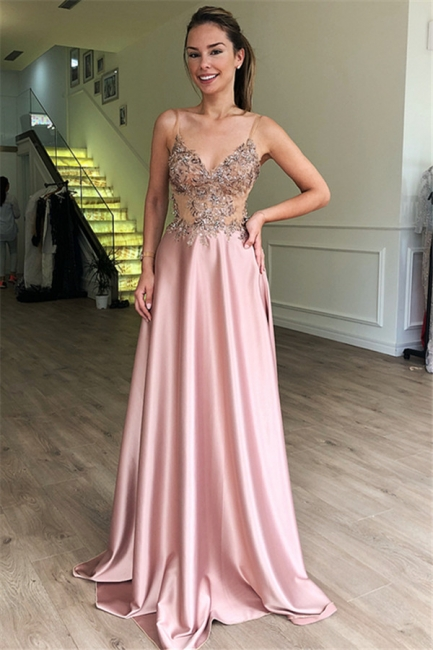 Gorgeous Fitted Spaghetti Straps Sleeveless Beaded Pink Exclusive Prom Dresses UK | New Styles