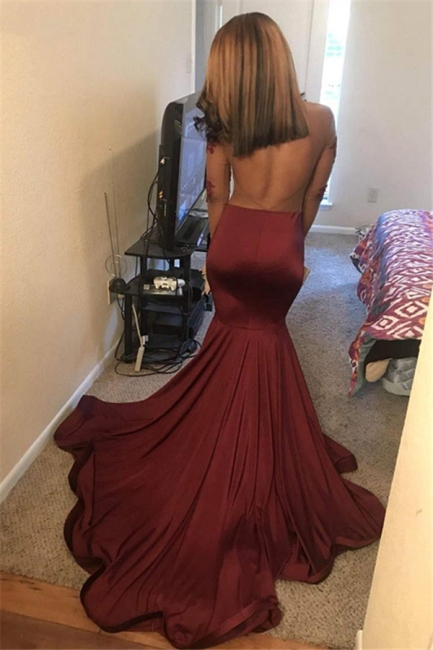 Wine Red Long Sleeves Open Back Trumpet Prom Dresses |  See-Through Appliques Evening Gowns | Suzhou UK Online Shop