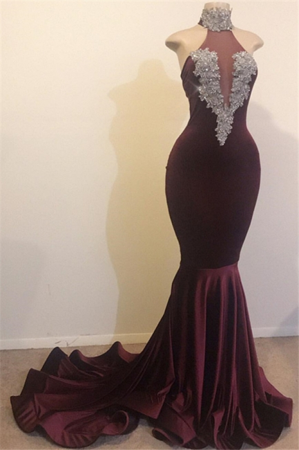 Charming Burgundy Mermaid Prom Dress High Neck Velvet Evening Party Gowns