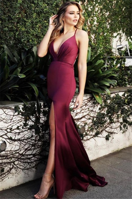Wine Red Spaghetti-Straps Sexy Low Cut Evening Dress |  Side-Slit Summer Sleeveless Sheath Prom Dresses | Suzhou UK Online Shop
