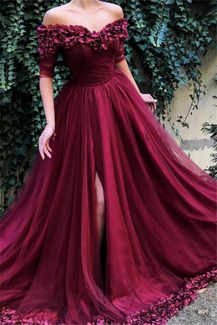 Burgundy fitted Fitted Off The Shoulder Tulle Flower Applique Exclusive Prom Dresses UK   New Styles