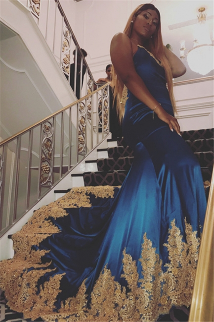 Sexy Royal Blue Appliques Open-Back Evening Gowns | Spaghetti-Straps Summer Sleeveless Trumpet Prom Dresses | Suzhou UK Online Shop