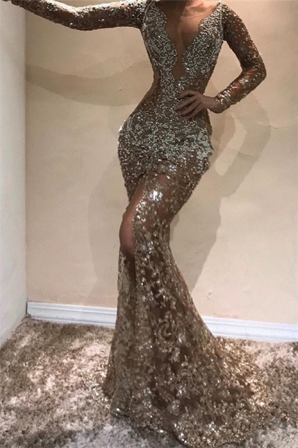 Beautiful Mermaid Sleeved Open Back Shining Sequins Exclusive Prom Dresses UK | New Styles