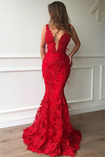 Flirty Ruby Mermaid Sleeveless Lace Appliques Evenging Dresses | New Styles