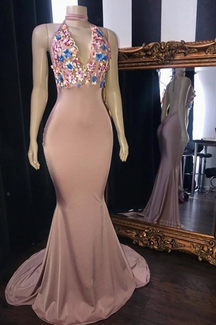 Pink Flowers Appliques Trumpet Long Prom Dresses | Amazing Summer Sleeveless Sexy Low Cut Evening Gowns | Suzhou UK Online Shop