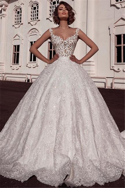Elegant Puffy Spaghetti Straps Wedding Dresses Sleeveless With Lace Applique Online