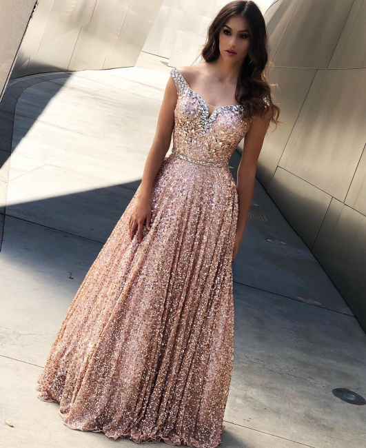 Rose Shining Gold Shining Sequins Evening Dresses Online |Cheap Off The Shoulder Flirty Bling-bling prom dress Sale|  New Styles