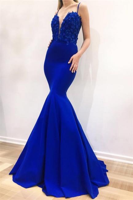 Gorgeous Mermaid Spaghetti Straps Sleeveless Appliques Evening Dresses Online | New Styles