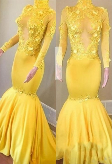 Yellow High Neck Flower Appliques Trumpet Long Sleeves Prom Dresses | Suzhou UK Online Shop